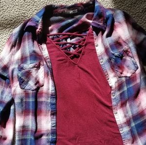EUC maurices super soft flannel and tank